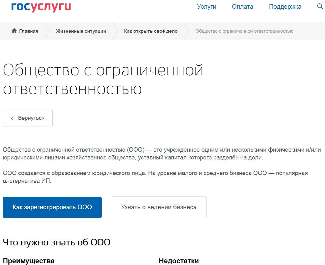 инструкция по регистрации ООО на портале госуслуги