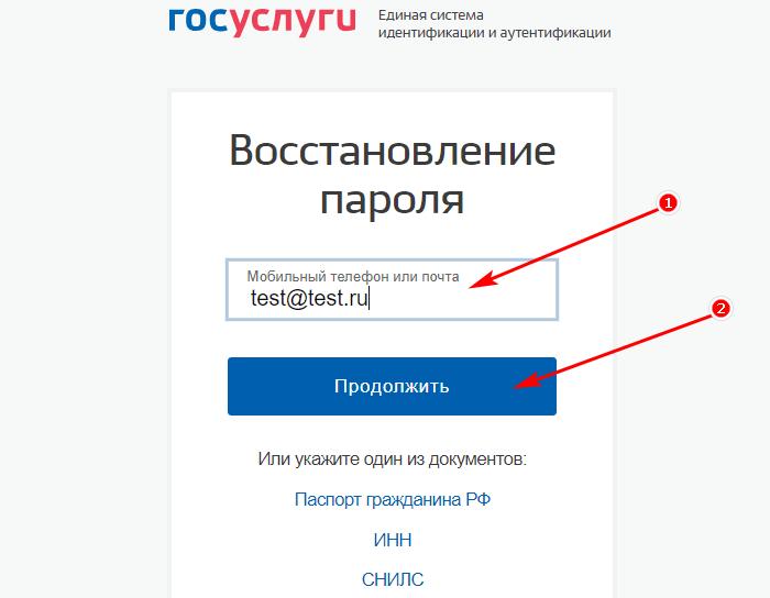 восстановление пароля госуслуг по почте