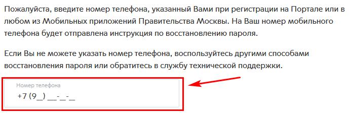 ввод номера телефона от аккаунта на сайте мэра