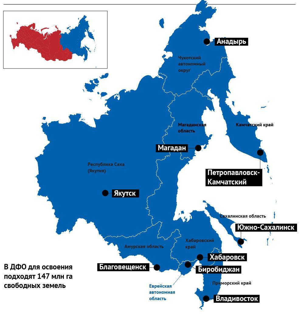 карта РФ с границами дальневосточных гектаров, на которой можно выбрать кусочек земли