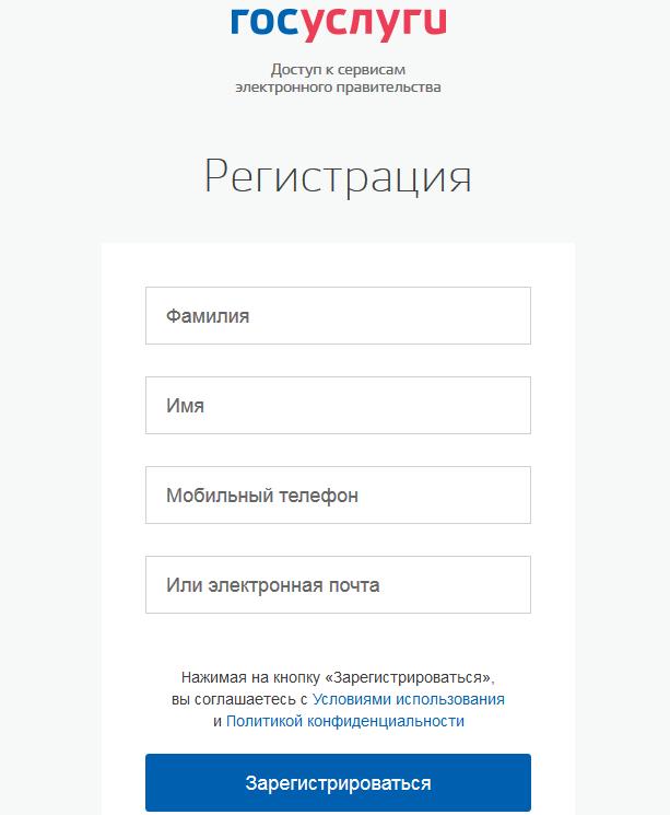 госуслуги - ввод данных для регистрации