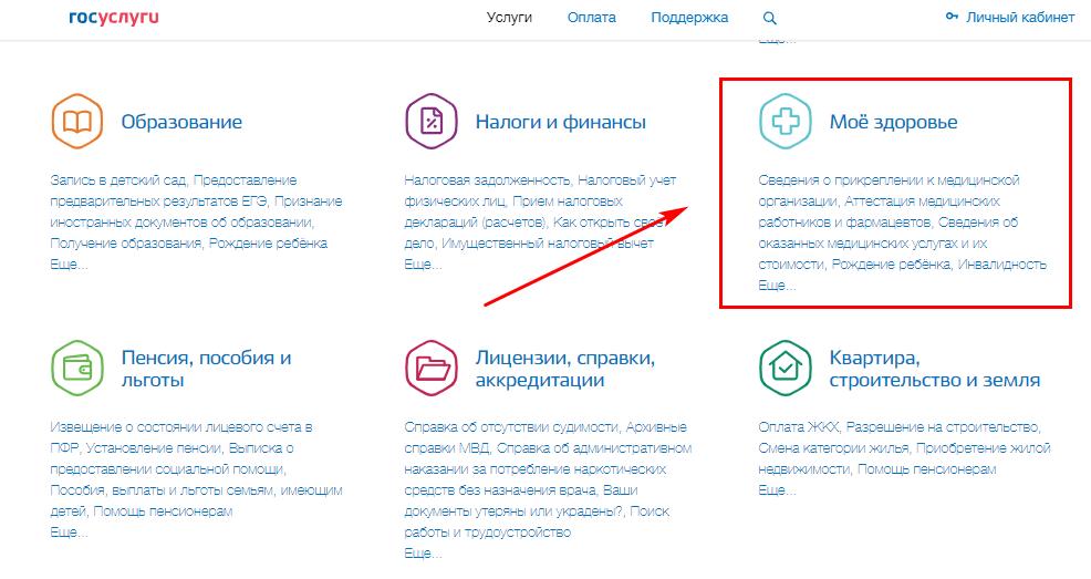 """Категория """"Мое здоровье"""" в каталоге услуг на сайте госуслуги"""