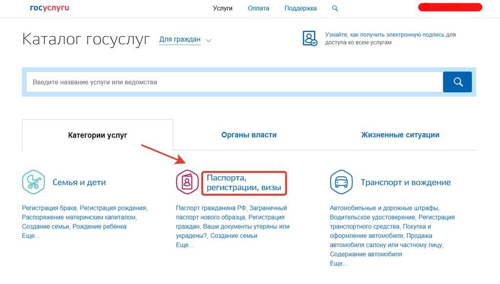 """Категория """"Паспорта, регистрации"""" в каталоге услуг"""