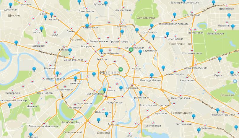 Многофункциональные центры на карте