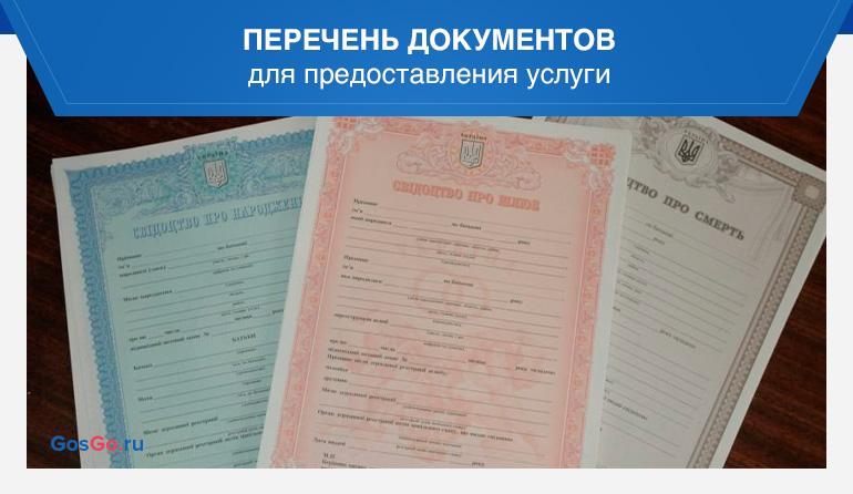 Перечень документов для предоставления услуги