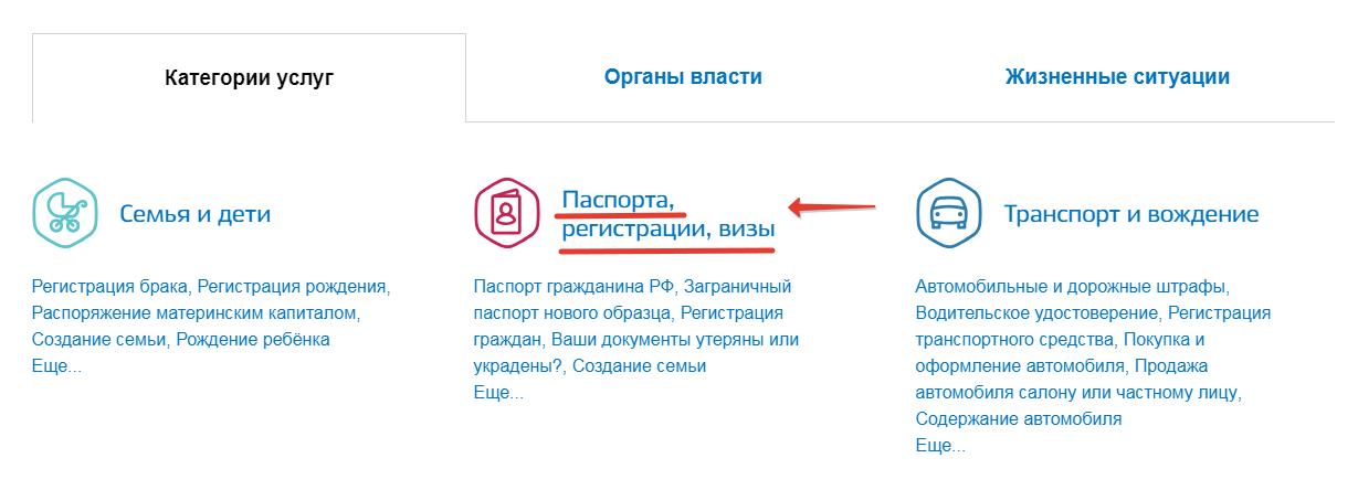 """Переход в категорию """"Паспорта и визы"""""""