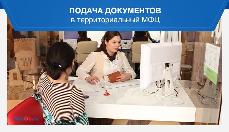 Подача документов в территориальный МФЦ