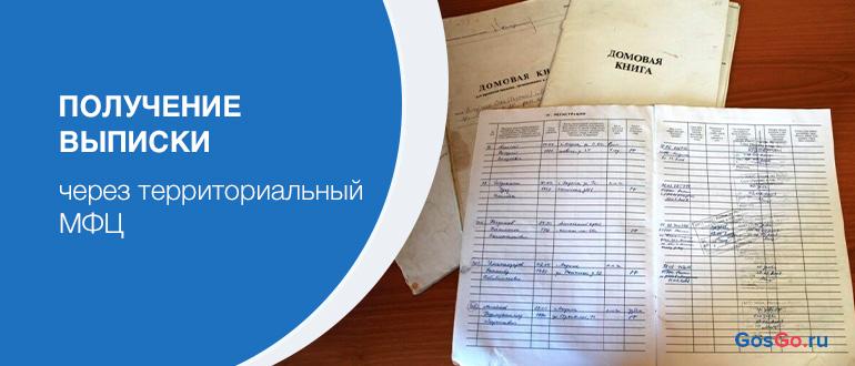 Получение выписки через территориальный МФЦ