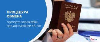 Процедура обмена паспорта через МФЦ при достижении 45 лет