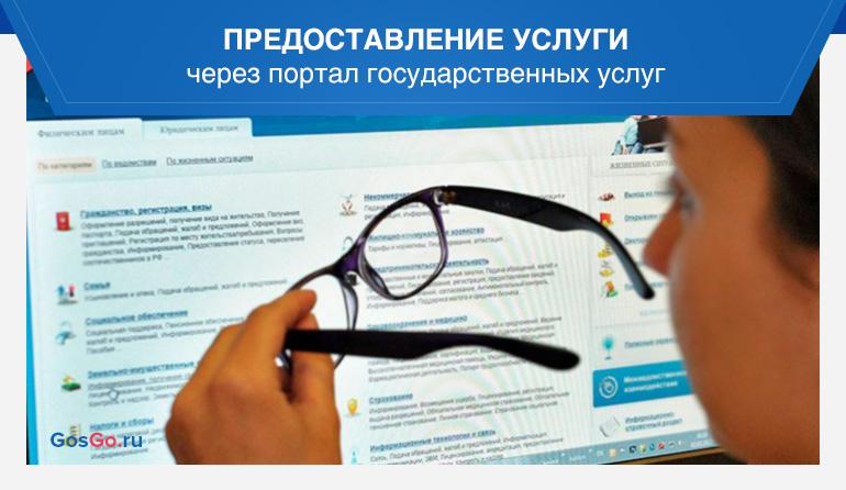 Предоставление услуги через портал государственных услуг