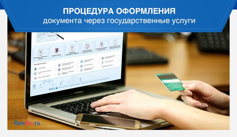 Процедура оформления документа через государственные услуги