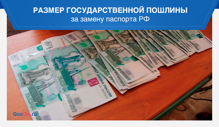 Размер государственной пошлины за замену паспорта РФ