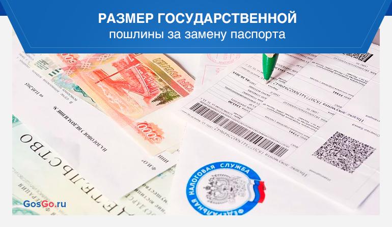 Размер государственной пошлины за замену паспорта