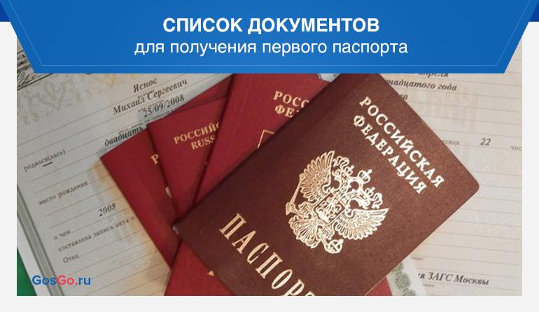 Список документов для получения первого паспорта