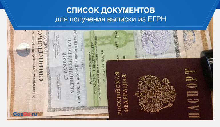 Список документов для получения выписки из ЕГРН