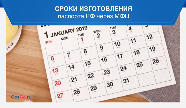 Сроки изготовления паспорта РФ через МФЦ