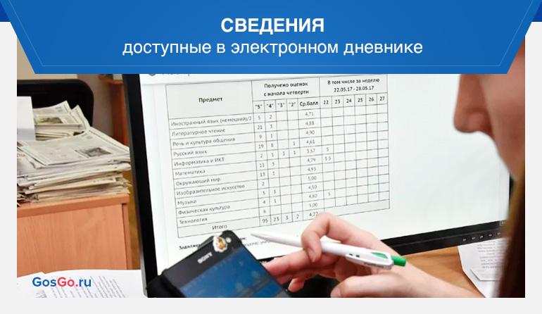 Сведения доступные в электронном дневнике