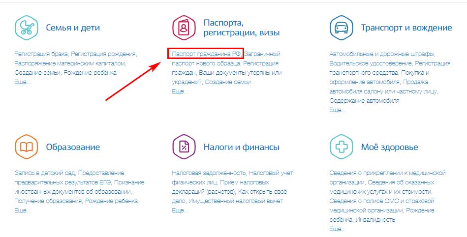 """Выбор категории """"Паспорта гражданина РФ"""""""