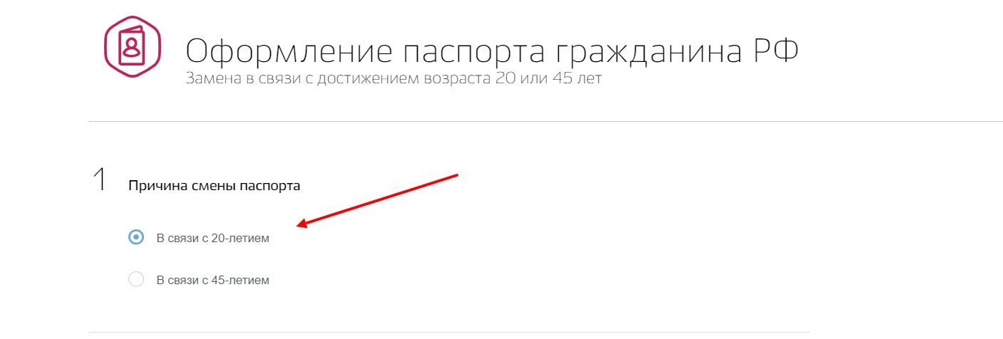 Выбрать причину замены паспорта РФ