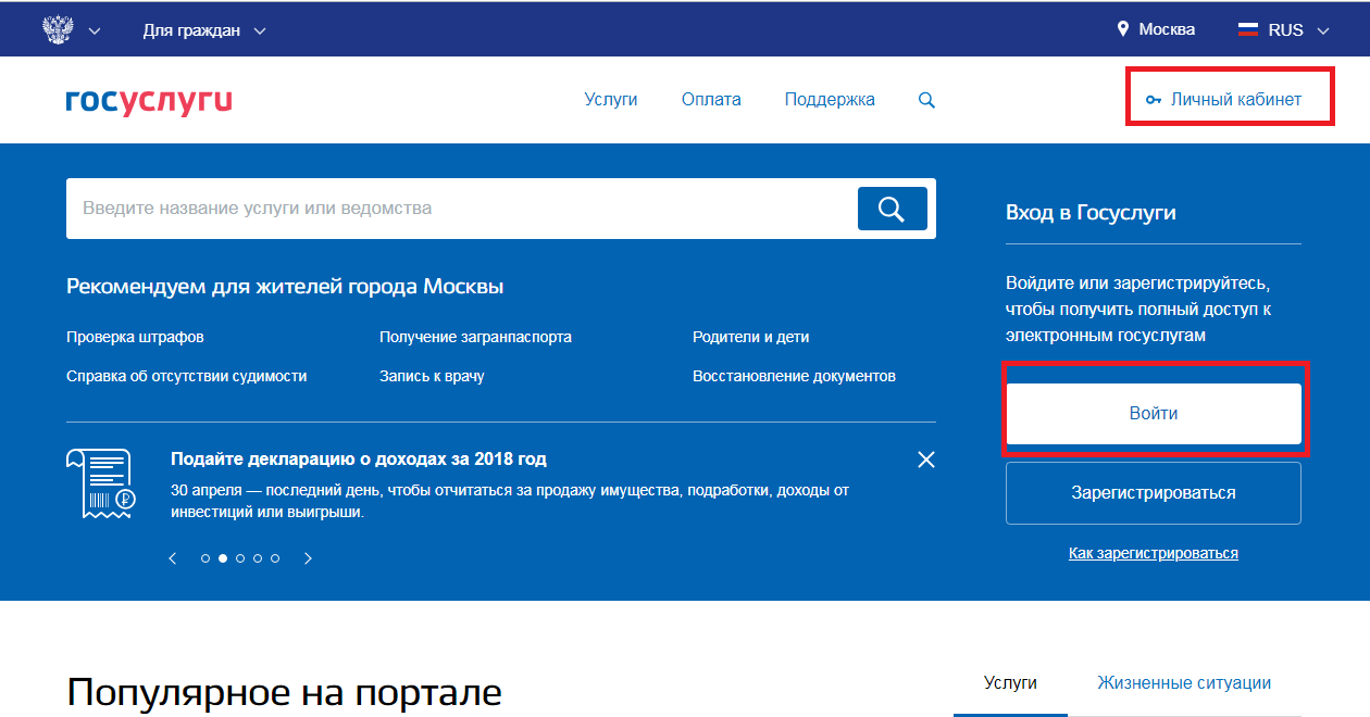 Авторизация на портале электронного правительства