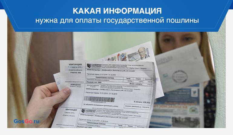 Какая информация нужна для оплаты государственной пошлины