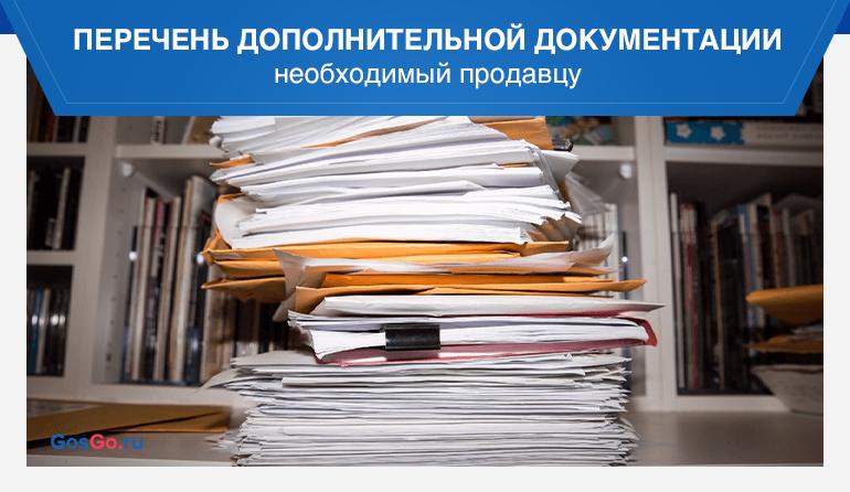 Перечень дополнительной документации необходимый продавцу