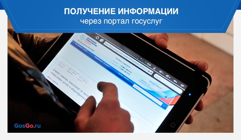 Получение информации через портал госуслуг