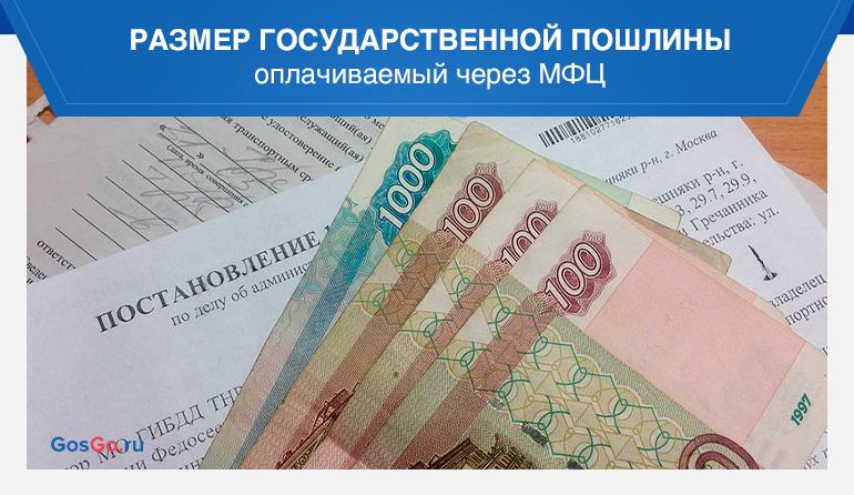 Размер государственной пошлины оплачиваемый через МФЦ
