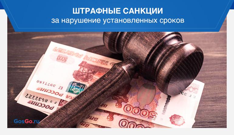 Штрафные санкции за нарушение установленных сроков