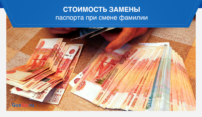 Стоимость замены паспорта при смене фамилии