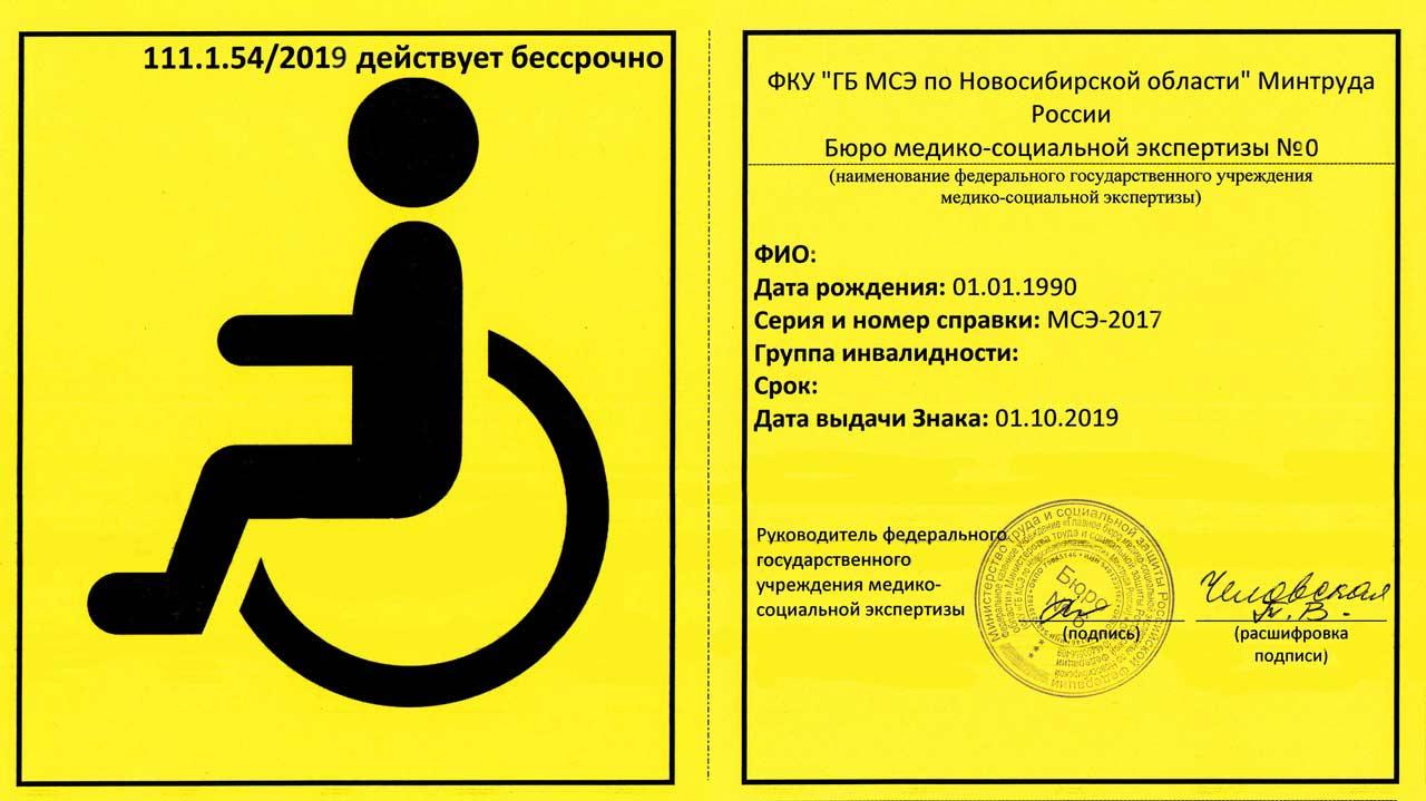 Тыльная сторона инвалидной карты для авто