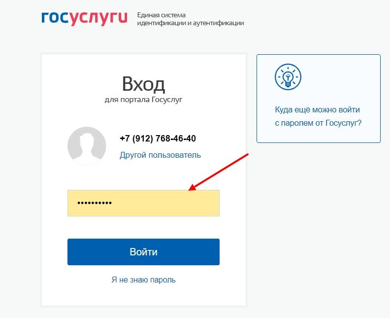 Вход в аккаунт на портале государственных услуг