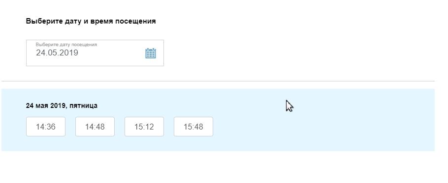 Выбор даты и времени для посещения ГИБДД