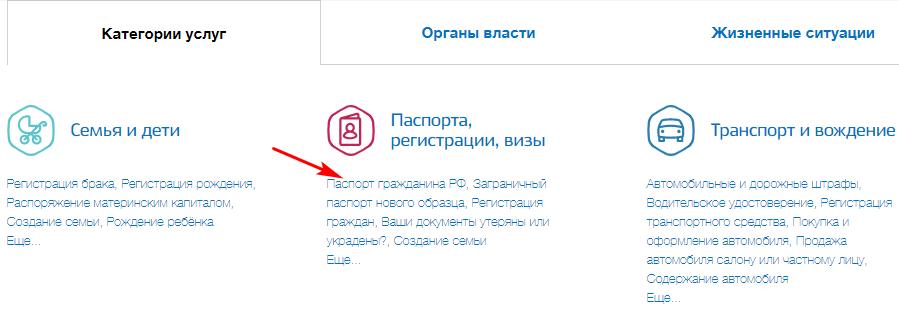 """Выбор услуги """"Паспорта гражданина РФ"""""""