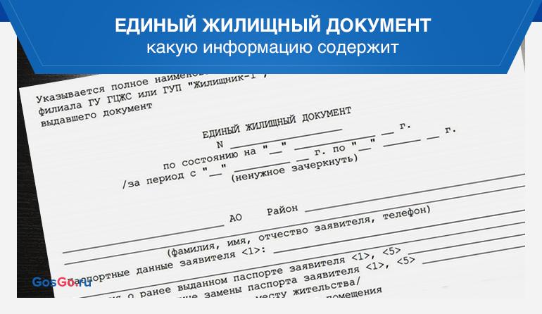 Единый жилищный документ описание