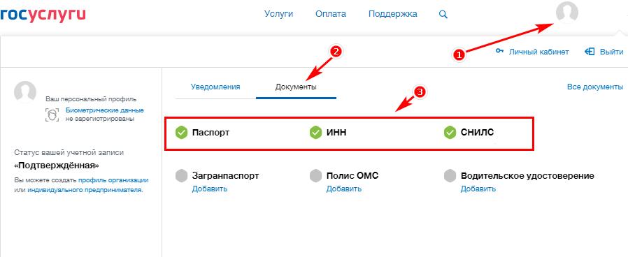 Добавление паспортных данных и СНИЛС на сайте госуслуг