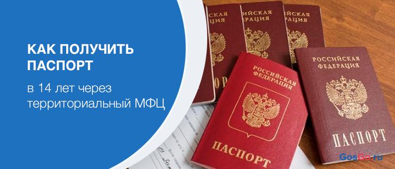 Как получить паспорт в 14 лет через территориальный МФЦ