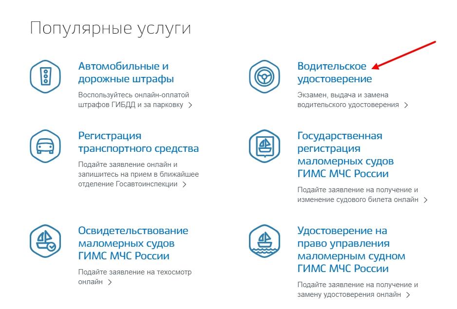 """Категория """"Водительское удостоверение"""" на портале государственных услуг"""