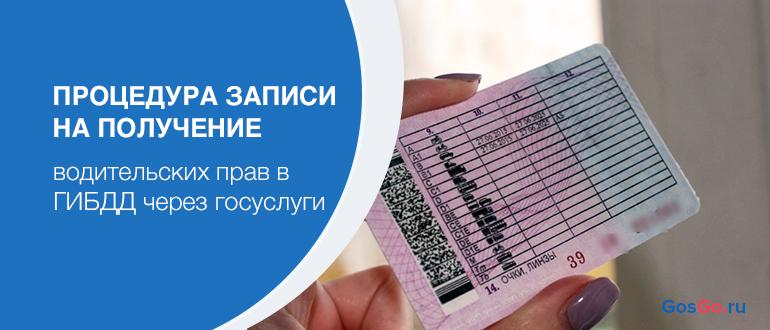 Процедура записи на получение водительских прав в ГИБДД через госуслуги