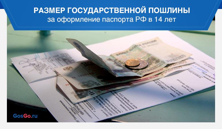 Размер государственной пошлины за оформление паспорта РФ в 14 лет