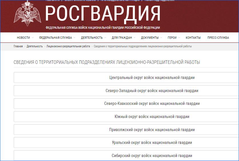 Сайт Росгвардии со списком аккредитованных лицензионно-разрешительных отделов
