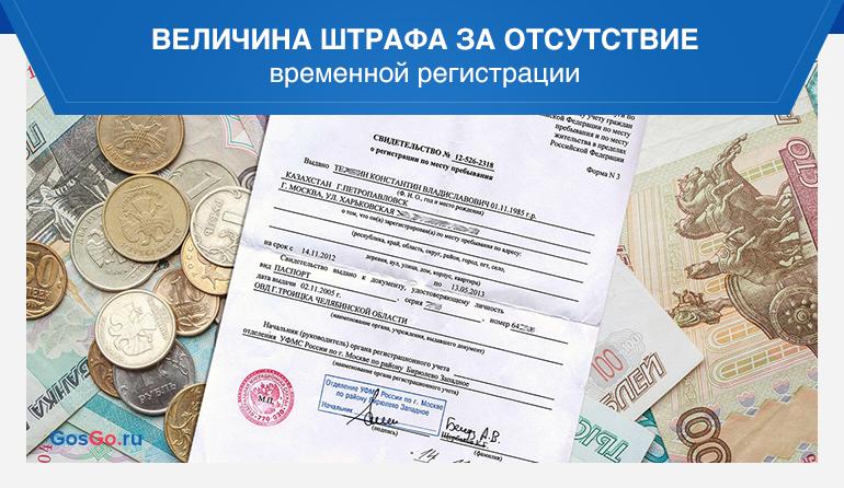 величина штрафа за отсутствие временной регистрации