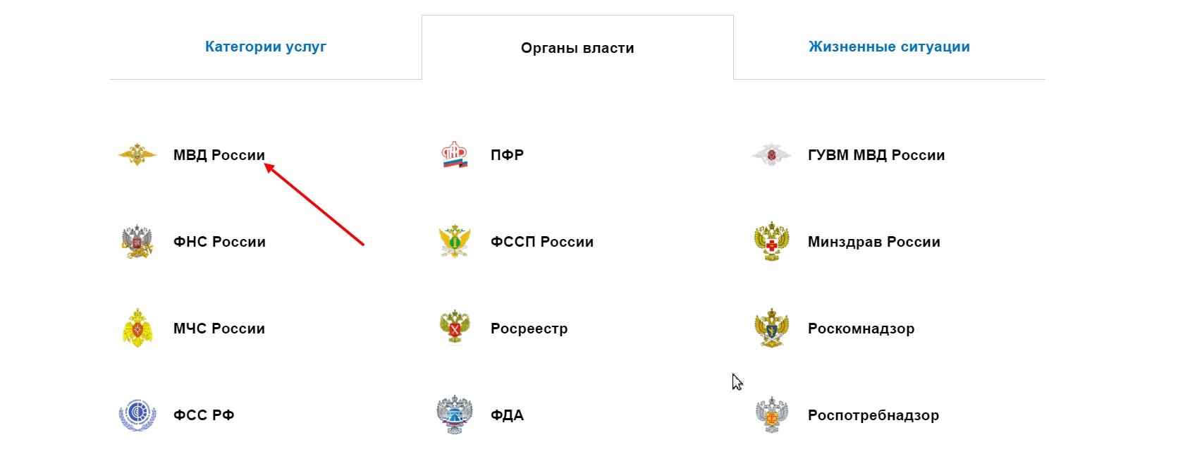 """Выбрать """"МВД России"""""""