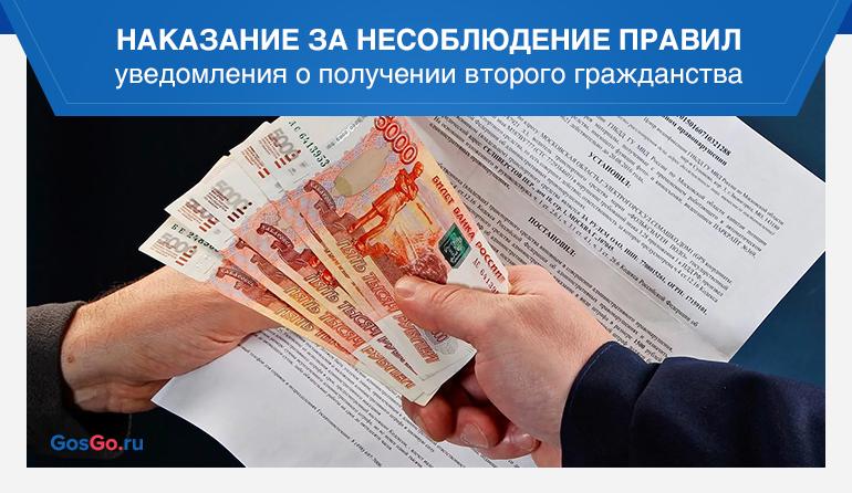Наказание за несоблюдение правил уведомления о получении второго гражданства