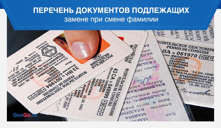 Перечень документов подлежащих замене при смене фамилии