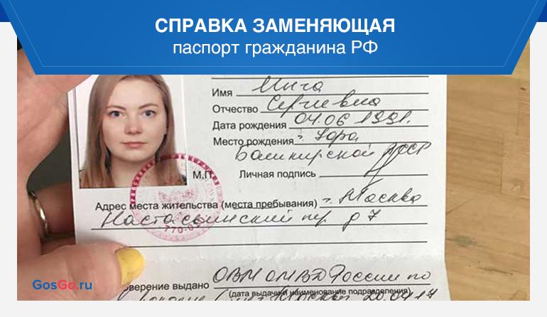 Справка заменяющая паспорт гражданина РФ