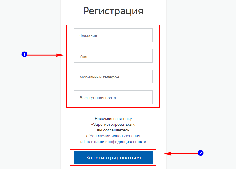 Ввод личных данных в поля регистрационной формы