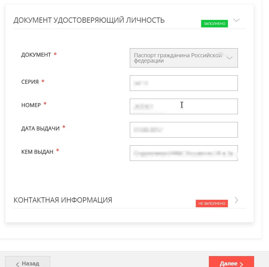 Выбрать документ и ввести серию и номер