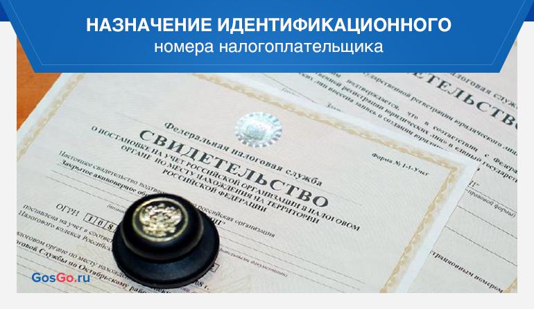 Назначение идентификационного номера налогоплательщика
