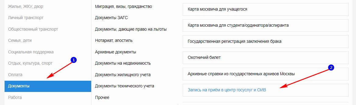 Запись на приём в ОИВ/МФЦ»